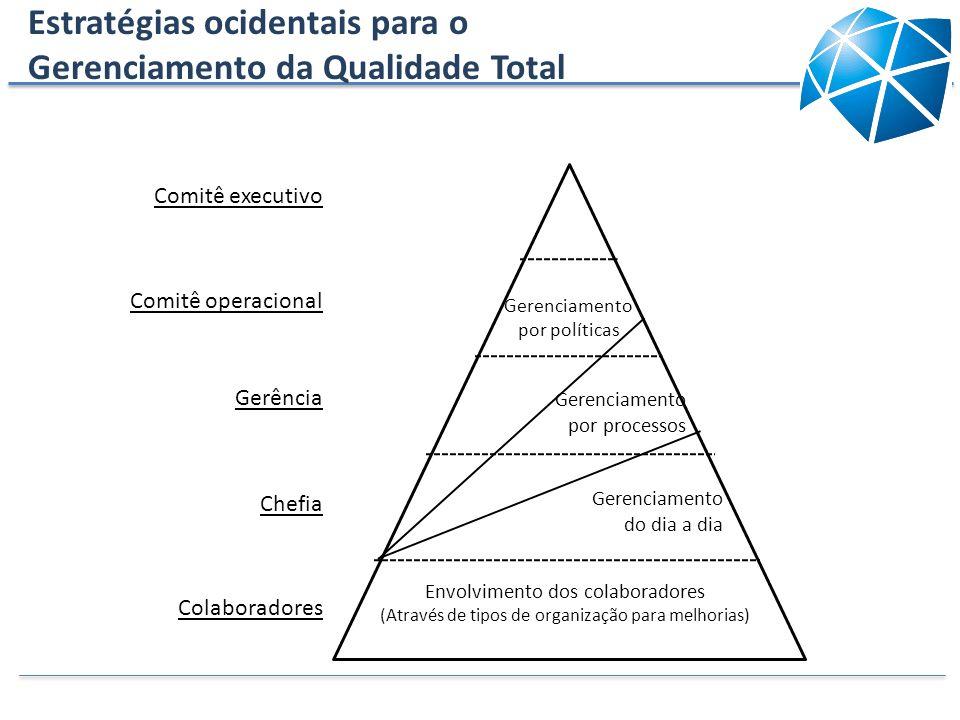 Comitê executivo Comitê operacional Gerenciamento por políticas Gerência Gerenciamento por processos Chefia Gerenciamento do dia a dia Colaboradores E