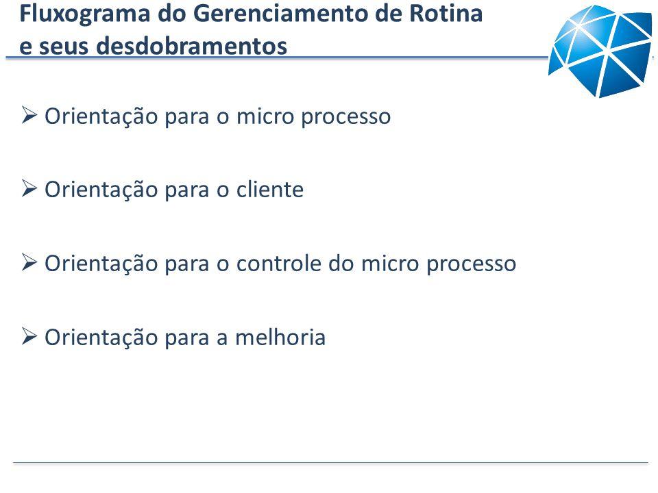 Fluxograma do Gerenciamento de Rotina e seus desdobramentos Orientação para o micro processo Orientação para o cliente Orientação para o controle do m