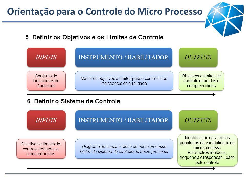 INPUTS INSTRUMENTO / HABILITADOR OUTPUTS Conjunto de Indicadores da Qualidade Matriz de objetivos e limites para o controle dos indicadores de qualida