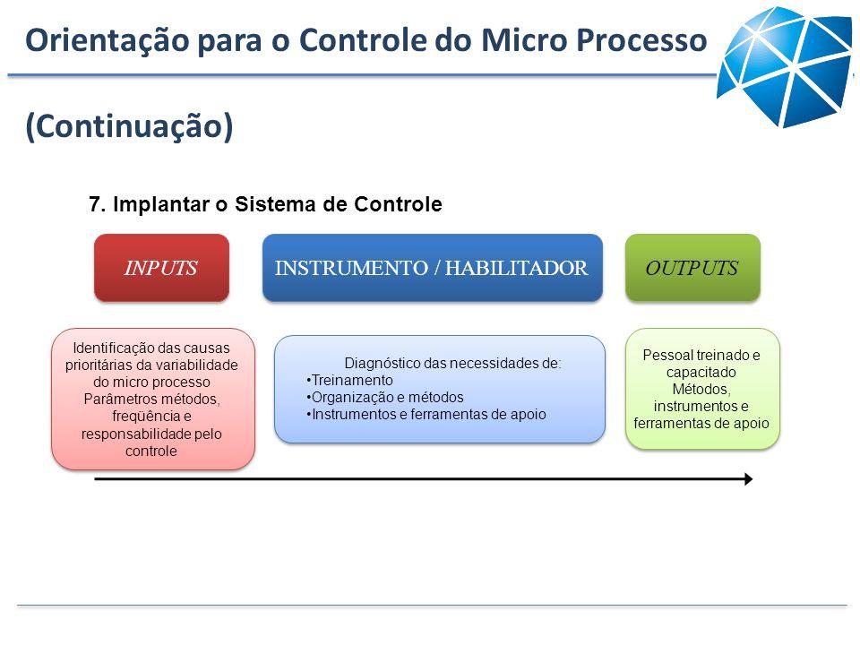 INPUTS INSTRUMENTO / HABILITADOR OUTPUTS Diagnóstico das necessidades de: Treinamento Organização e métodos Instrumentos e ferramentas de apoio Diagnó
