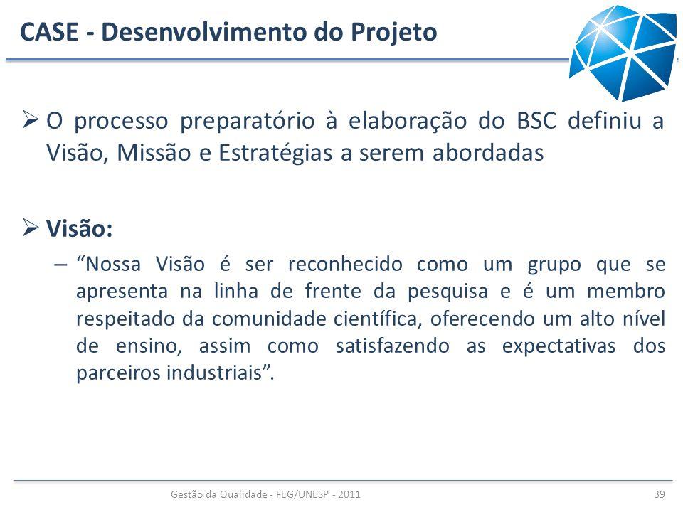 CASE - Desenvolvimento do Projeto O processo preparatório à elaboração do BSC definiu a Visão, Missão e Estratégias a serem abordadas Visão: – Nossa V