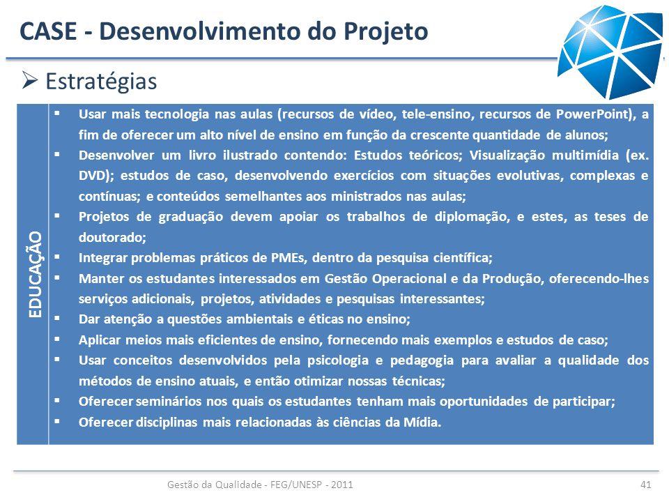 CASE - Desenvolvimento do Projeto Estratégias Gestão da Qualidade - FEG/UNESP - 2011 41 EDUCAÇÃO Usar mais tecnologia nas aulas (recursos de vídeo, te