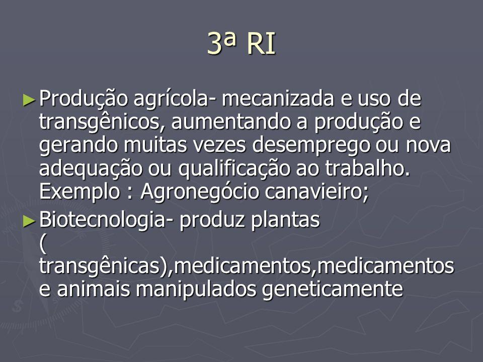3ª RI Produção agrícola- mecanizada e uso de transgênicos, aumentando a produção e gerando muitas vezes desemprego ou nova adequação ou qualificação a