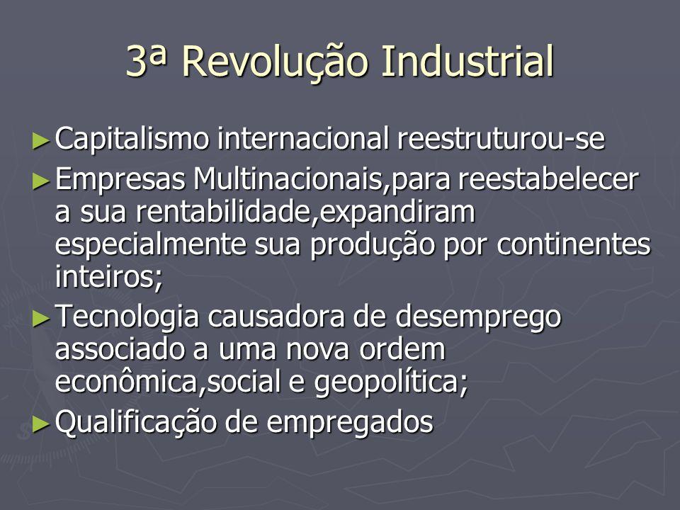 3ª Revolução Industrial Capitalismo internacional reestruturou-se Capitalismo internacional reestruturou-se Empresas Multinacionais,para reestabelecer