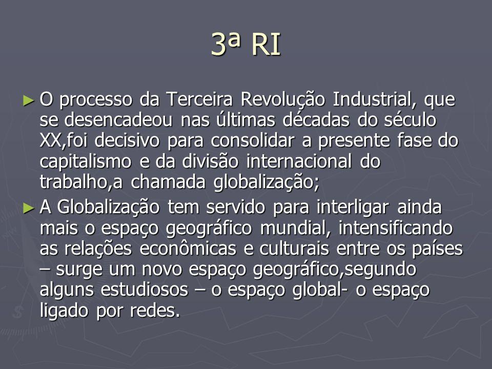 3ª RI O processo da Terceira Revolução Industrial, que se desencadeou nas últimas décadas do século XX,foi decisivo para consolidar a presente fase do