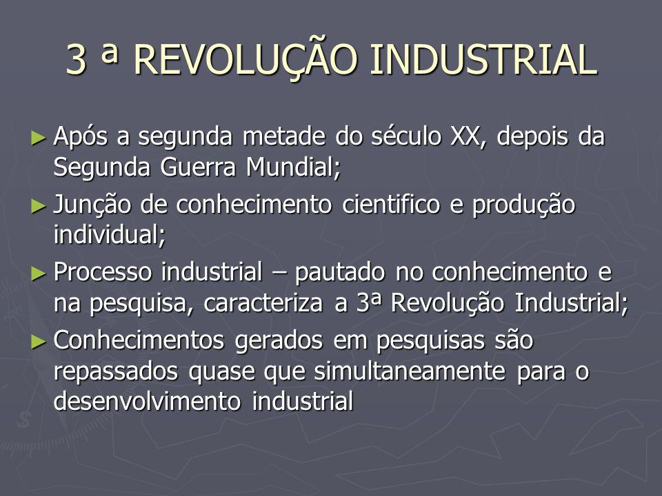 3 ª REVOLUÇÃO INDUSTRIAL Após a segunda metade do século XX, depois da Segunda Guerra Mundial; Após a segunda metade do século XX, depois da Segunda G