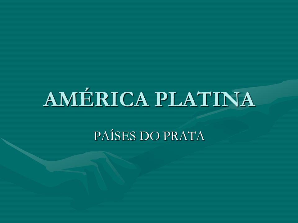 AMÉRICA PLATINA ÁREA APROXIMADA DE 3,3 MILHÕES DE KM2ÁREA APROXIMADA DE 3,3 MILHÕES DE KM2 ARGENTINA, URUGUAI E PARAGUAIARGENTINA, URUGUAI E PARAGUAI PAÍSES QUE SÃO BANHADOS PELOS PRINCIPAIS RIOS QUE COMPÕE A BACIA HIDROGRÁFICA DO RIO DA PRATA : PARANÁ, PARAGUAI E URUGUAI( TODOS TÊM AS SUAS NASCENTES NO BRASIL)PAÍSES QUE SÃO BANHADOS PELOS PRINCIPAIS RIOS QUE COMPÕE A BACIA HIDROGRÁFICA DO RIO DA PRATA : PARANÁ, PARAGUAI E URUGUAI( TODOS TÊM AS SUAS NASCENTES NO BRASIL) NOME INICIAL – MAR DULCE – TIERRA ARGENTANOME INICIAL – MAR DULCE – TIERRA ARGENTA CERCA DE 200 KM DA CONFLUÊNCIA DOS RIOS URUGUAI E PARANÁ ATÉ O LANÇAMENTO DAS ÁGUAS NO OCEANO ATLÂNTICOCERCA DE 200 KM DA CONFLUÊNCIA DOS RIOS URUGUAI E PARANÁ ATÉ O LANÇAMENTO DAS ÁGUAS NO OCEANO ATLÂNTICO