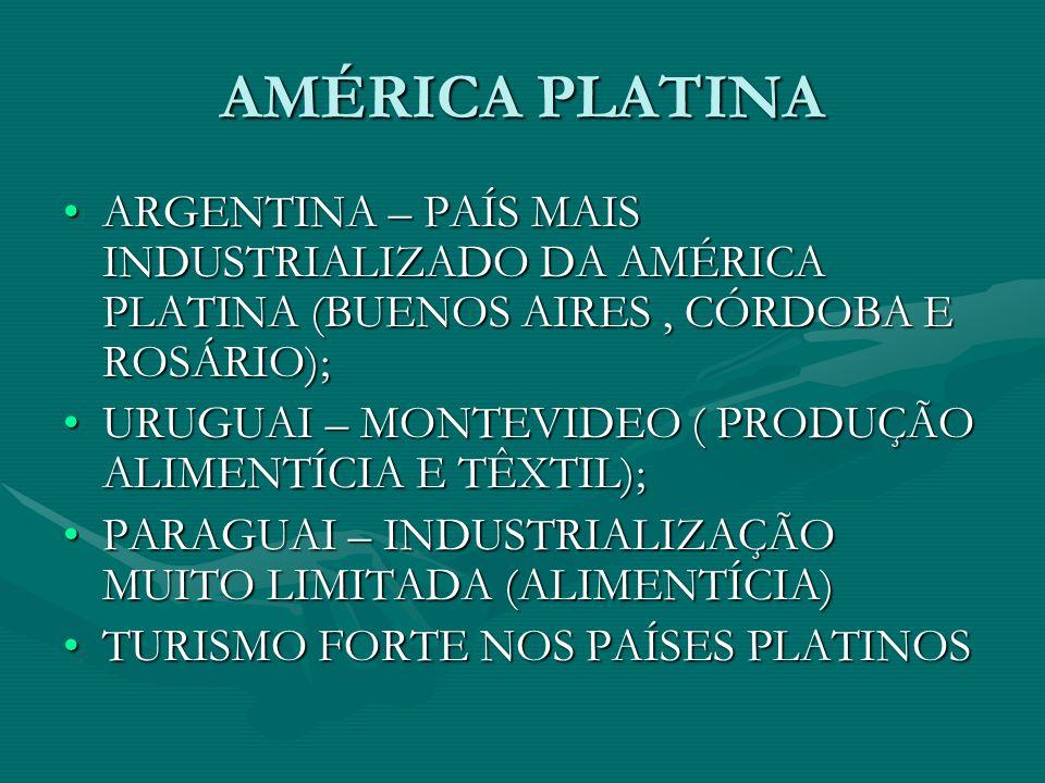 AMÉRICA PLATINA ARGENTINA – PAÍS MAIS INDUSTRIALIZADO DA AMÉRICA PLATINA (BUENOS AIRES, CÓRDOBA E ROSÁRIO);ARGENTINA – PAÍS MAIS INDUSTRIALIZADO DA AMÉRICA PLATINA (BUENOS AIRES, CÓRDOBA E ROSÁRIO); URUGUAI – MONTEVIDEO ( PRODUÇÃO ALIMENTÍCIA E TÊXTIL);URUGUAI – MONTEVIDEO ( PRODUÇÃO ALIMENTÍCIA E TÊXTIL); PARAGUAI – INDUSTRIALIZAÇÃO MUITO LIMITADA (ALIMENTÍCIA)PARAGUAI – INDUSTRIALIZAÇÃO MUITO LIMITADA (ALIMENTÍCIA) TURISMO FORTE NOS PAÍSES PLATINOSTURISMO FORTE NOS PAÍSES PLATINOS