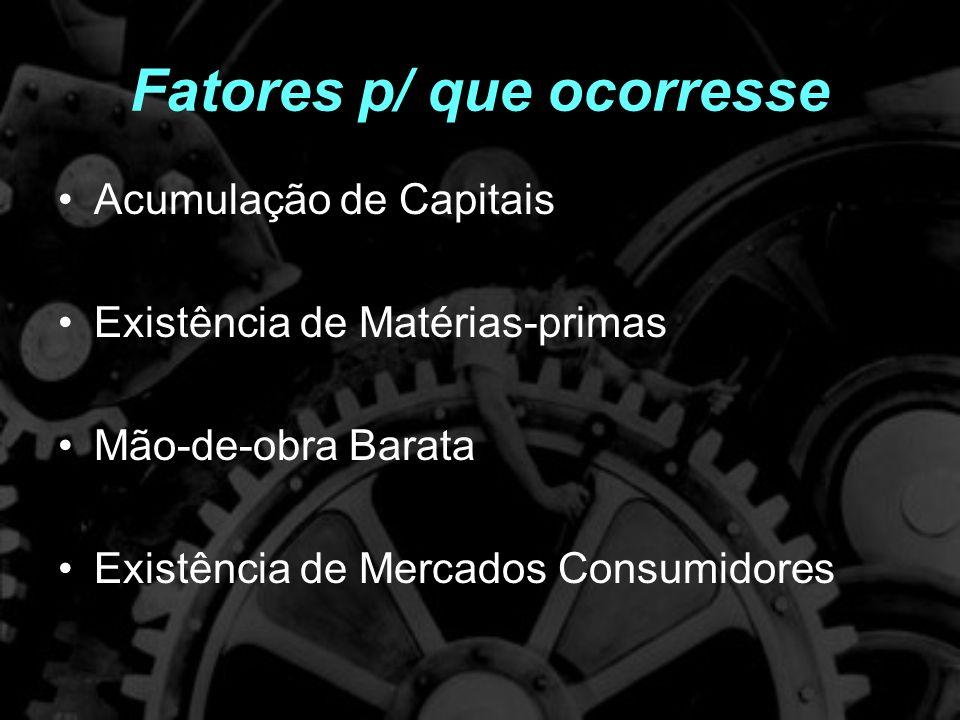 Fatores p/ que ocorresse Acumulação de Capitais Existência de Matérias-primas Mão-de-obra Barata Existência de Mercados Consumidores