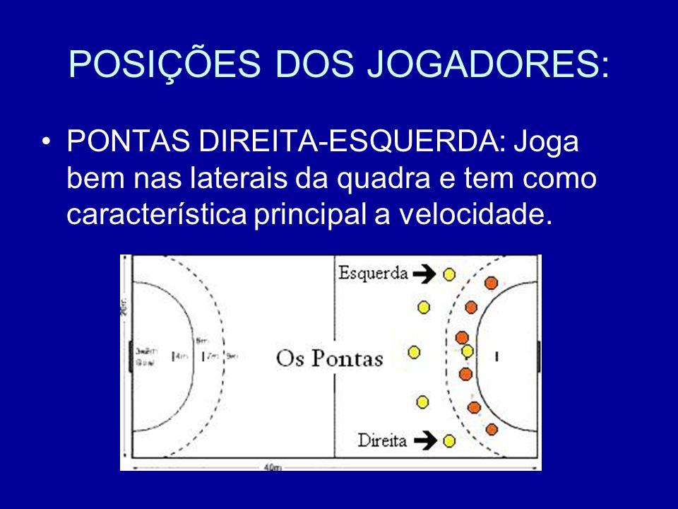 POSIÇÕES DOS JOGADORES: PONTAS DIREITA-ESQUERDA: Joga bem nas laterais da quadra e tem como característica principal a velocidade.