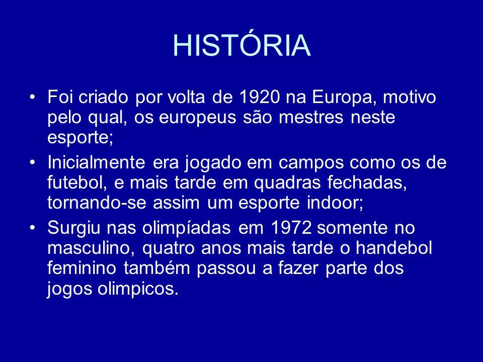 HISTÓRIA Foi criado por volta de 1920 na Europa, motivo pelo qual, os europeus são mestres neste esporte; Inicialmente era jogado em campos como os de