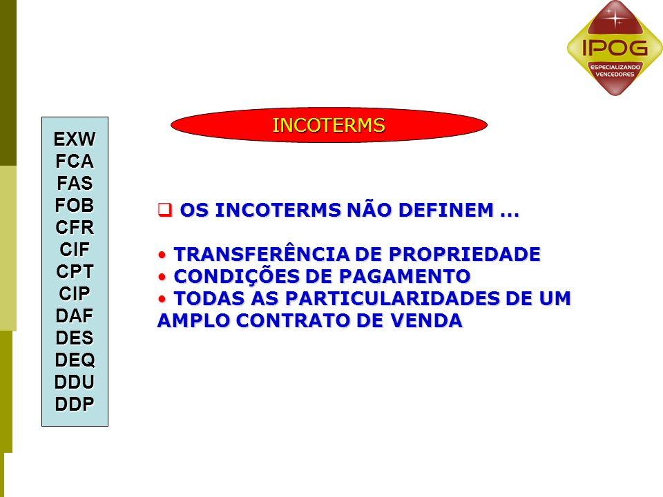 4 GRUPOS – 13 TERMOS 1.E - PARTIDAEXW 2.F - TRANSPORTE PRINCIPAL NÃO PAGO FCA - FAS – FOB 3.C - TRANSPORTE PRINCIPAL PAGO CFR - CIF - CPT – CIP 4.D – CHEGADA (DELIVERY) DAF - DES - DEQ - DDU - DDP EXWFCAFASFOBCFRCIFCPTCIPDAFDESDEQDDUDDP INCOTERMS