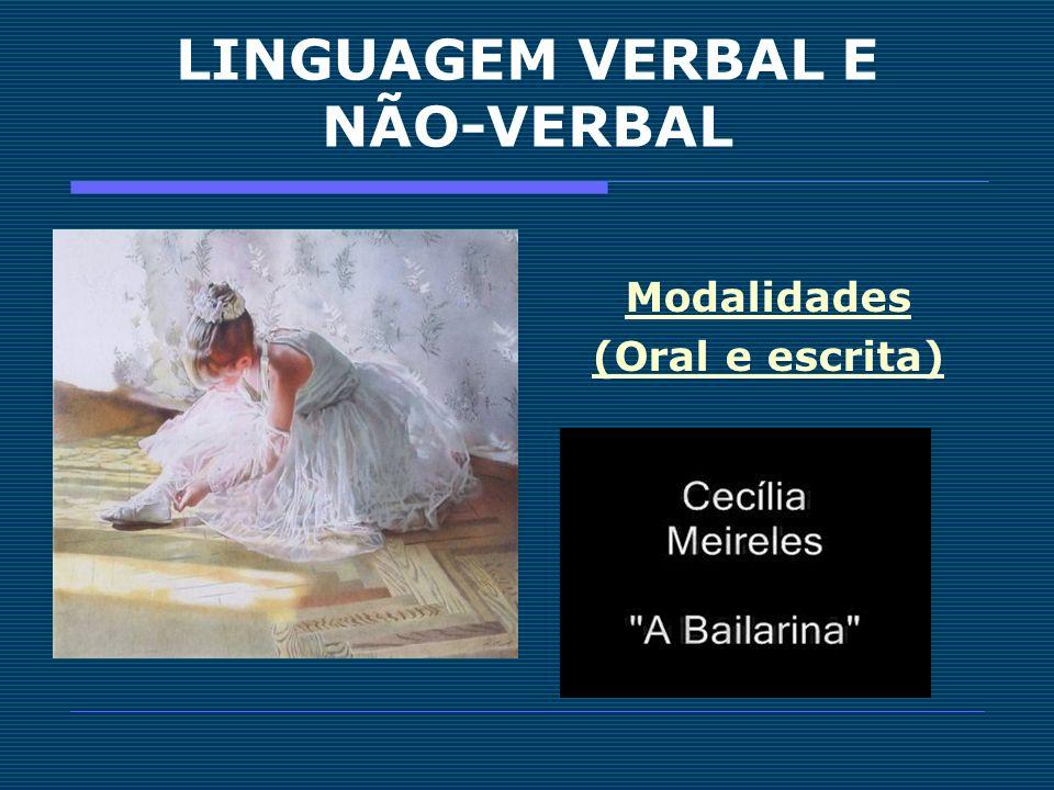 LINGUAGEM VERBAL E NÃO-VERBAL Modalidades (Oral e escrita)
