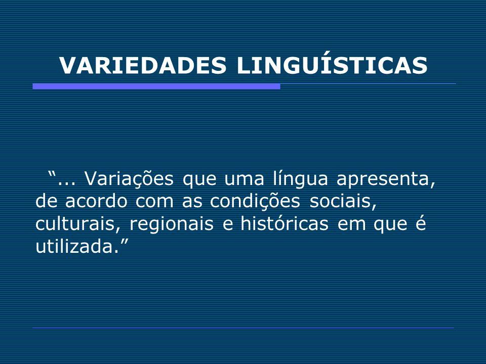 VARIEDADES LINGUÍSTICAS... Variações que uma língua apresenta, de acordo com as condições sociais, culturais, regionais e históricas em que é utilizad