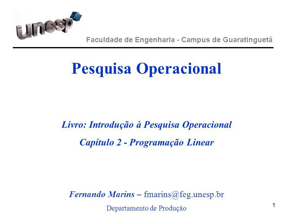 Pesquisa Operacional - UNESP / Campus de Guaratinguetá Forma padrão de modelo de PL 52 Modelo na forma padrão: Minimizar (ou maximizar) Z = C 1 X 1 + C 2 X 2 +...