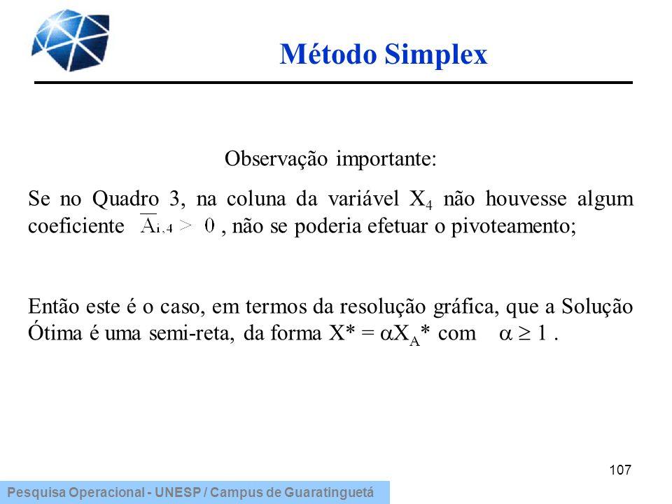 Pesquisa Operacional - UNESP / Campus de Guaratinguetá Método Simplex 107 Observação importante: Se no Quadro 3, na coluna da variável X 4 não houvess