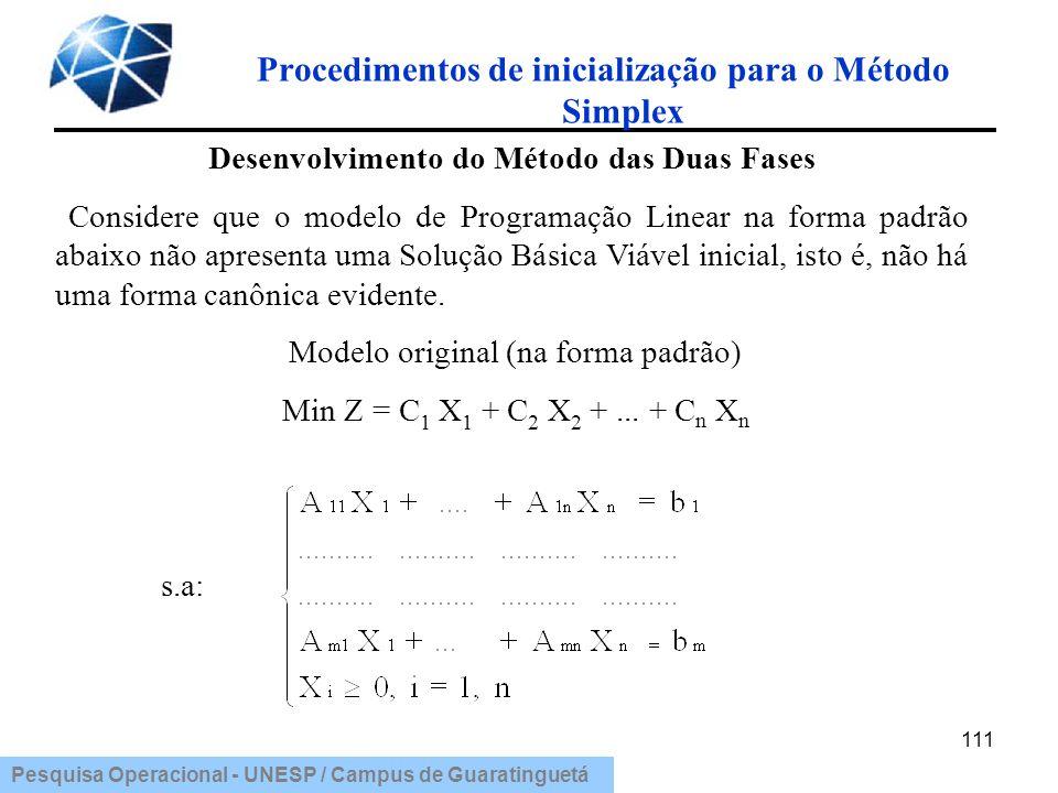 Pesquisa Operacional - UNESP / Campus de Guaratinguetá Procedimentos de inicialização para o Método Simplex 111 Desenvolvimento do Método das Duas Fas
