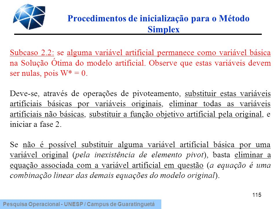Pesquisa Operacional - UNESP / Campus de Guaratinguetá Procedimentos de inicialização para o Método Simplex 115 Subcaso 2.2: se alguma variável artifi