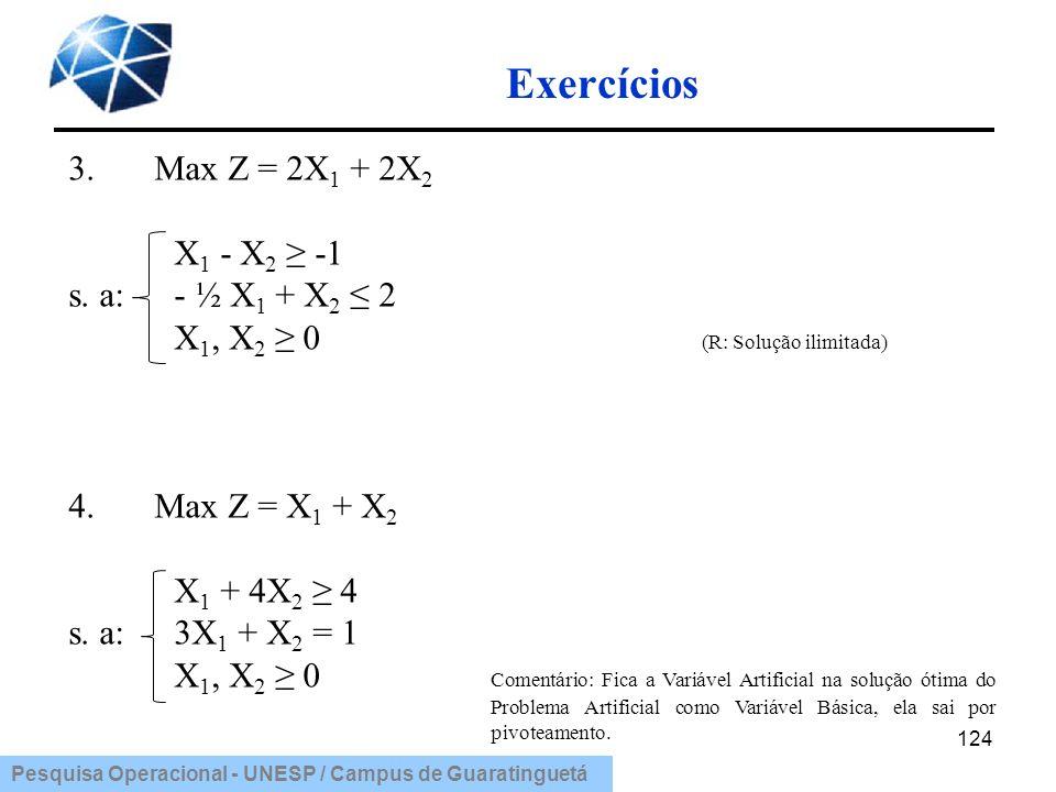 Pesquisa Operacional - UNESP / Campus de Guaratinguetá Exercícios 124 3.Max Z = 2X 1 + 2X 2 X 1 - X 2 -1 s. a: - ½ X 1 + X 2 2 X 1, X 2 0 (R: Solução