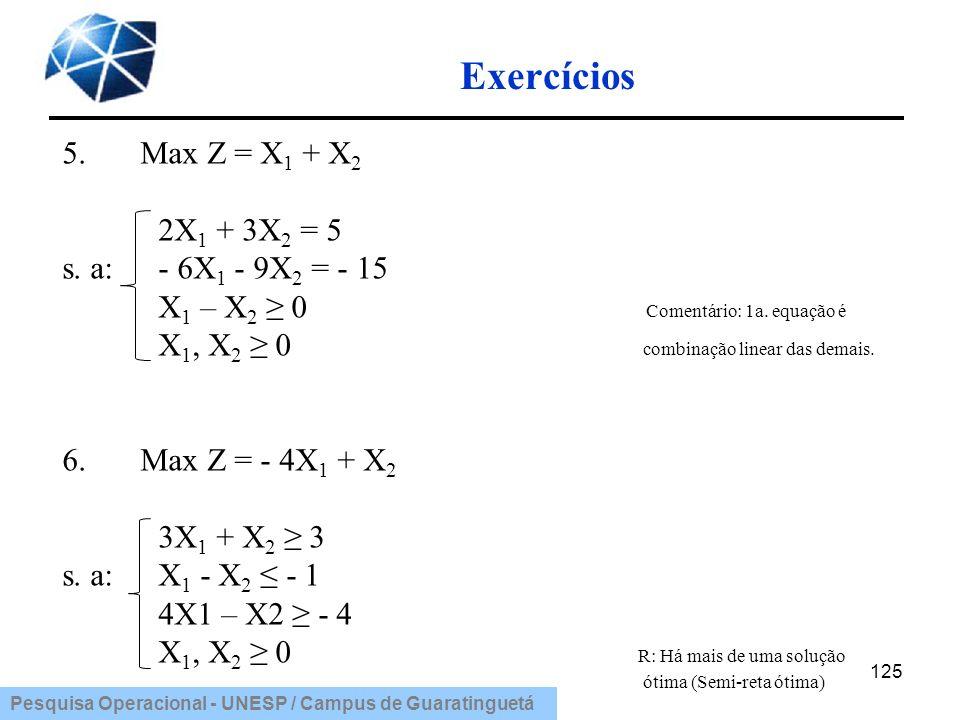 Pesquisa Operacional - UNESP / Campus de Guaratinguetá Exercícios 125 5.Max Z = X 1 + X 2 2X 1 + 3X 2 = 5 s. a: - 6X 1 - 9X 2 = - 15 X 1 – X 2 0 Comen