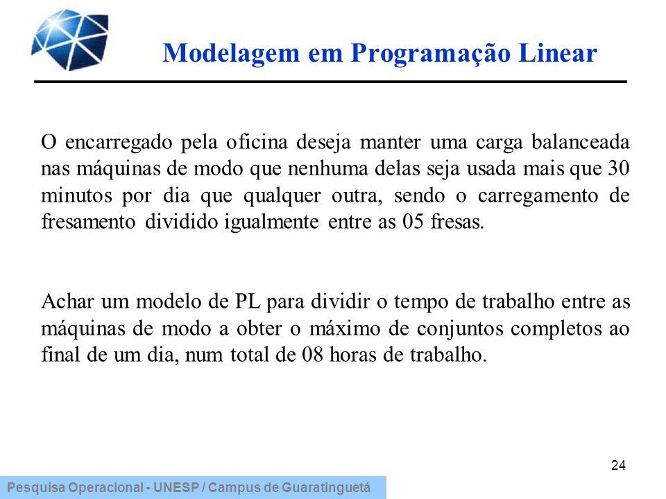 Pesquisa Operacional - UNESP / Campus de Guaratinguetá Modelagem em Programação Linear 24 O encarregado pela oficina deseja manter uma carga balancead