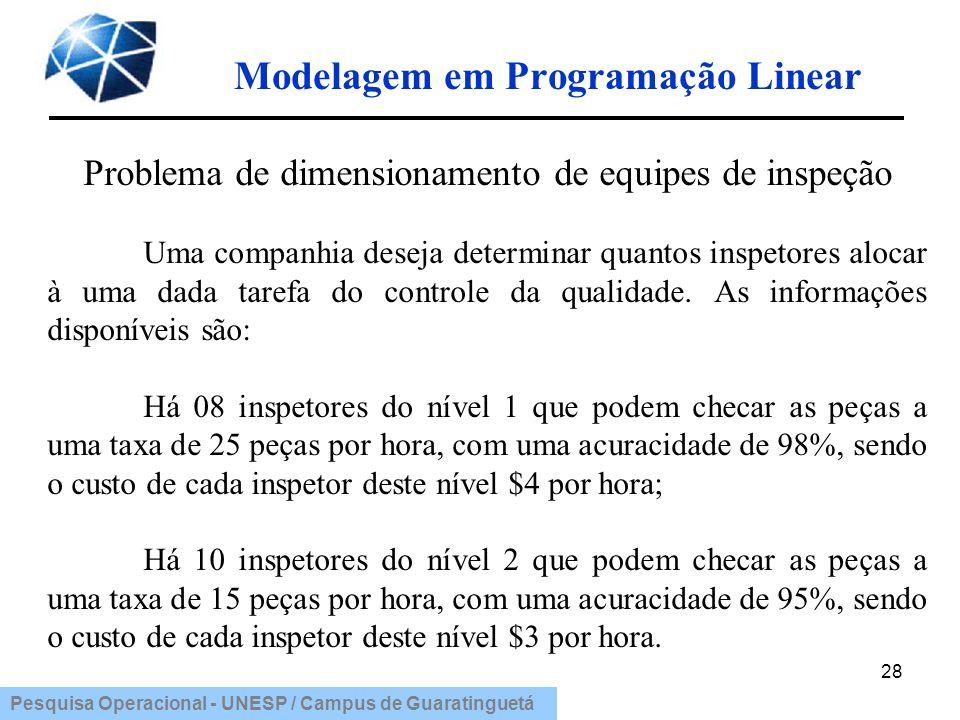 Pesquisa Operacional - UNESP / Campus de Guaratinguetá Modelagem em Programação Linear 28 Problema de dimensionamento de equipes de inspeção Uma compa