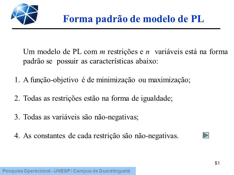 Pesquisa Operacional - UNESP / Campus de Guaratinguetá Forma padrão de modelo de PL 51 Um modelo de PL com m restrições e n variáveis está na forma pa