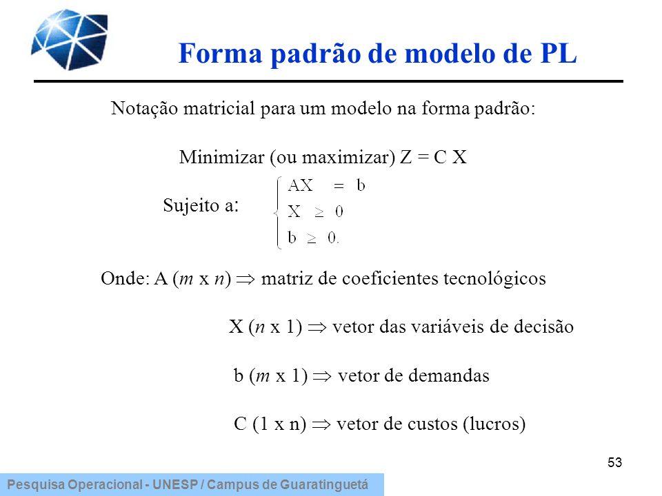 Pesquisa Operacional - UNESP / Campus de Guaratinguetá 53 Notação matricial para um modelo na forma padrão: Minimizar (ou maximizar) Z = C X Sujeito a