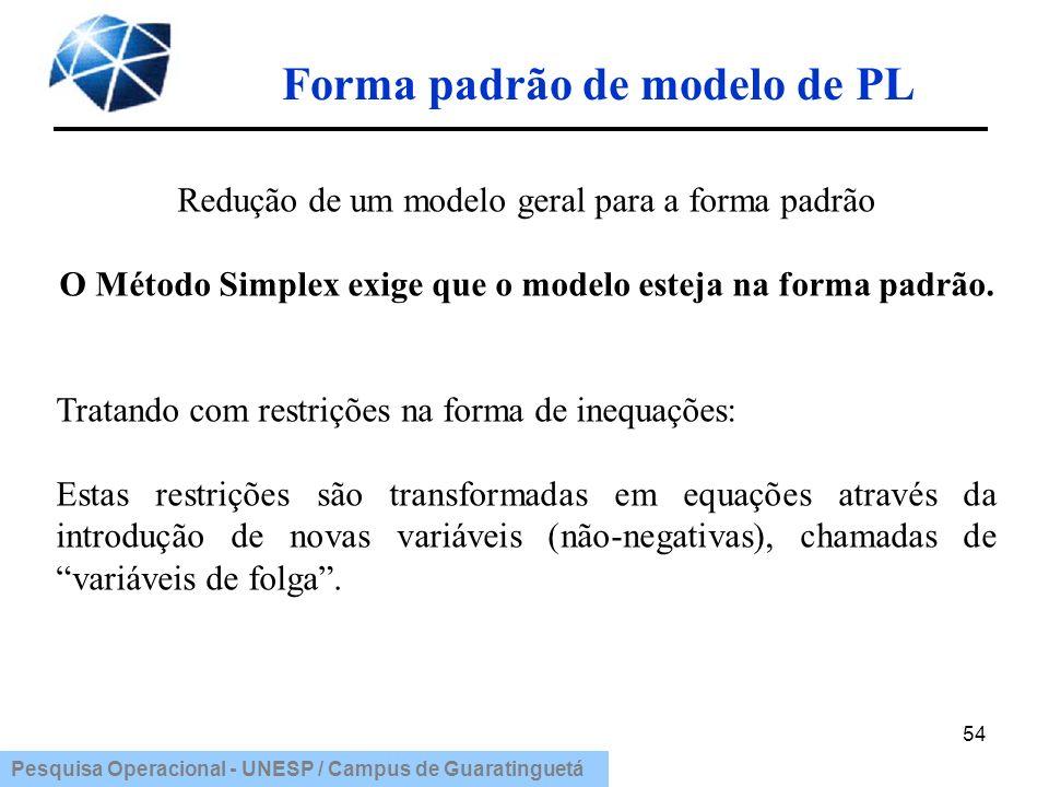 Pesquisa Operacional - UNESP / Campus de Guaratinguetá 54 Redução de um modelo geral para a forma padrão O Método Simplex exige que o modelo esteja na