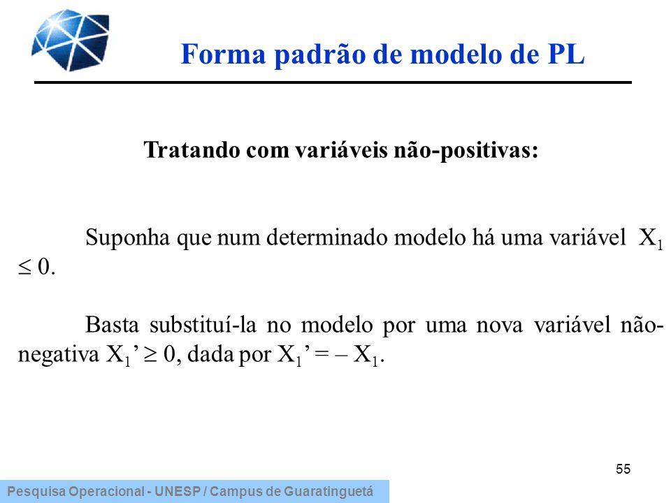 Pesquisa Operacional - UNESP / Campus de Guaratinguetá Forma padrão de modelo de PL 55 Tratando com variáveis não-positivas: Suponha que num determina