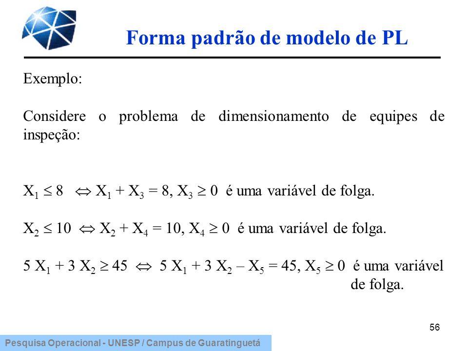 Pesquisa Operacional - UNESP / Campus de Guaratinguetá Forma padrão de modelo de PL 56 Exemplo: Considere o problema de dimensionamento de equipes de