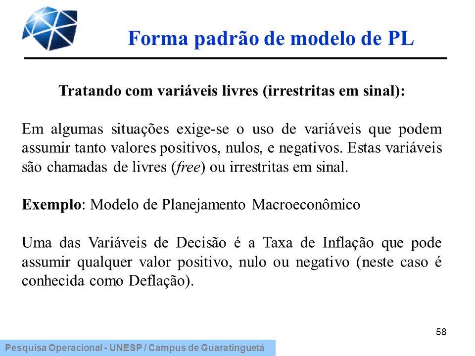 Pesquisa Operacional - UNESP / Campus de Guaratinguetá Forma padrão de modelo de PL 58 Tratando com variáveis livres (irrestritas em sinal): Em alguma