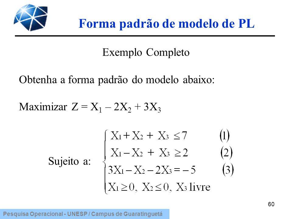 Pesquisa Operacional - UNESP / Campus de Guaratinguetá Forma padrão de modelo de PL Exemplo Completo Obtenha a forma padrão do modelo abaixo: Maximiza