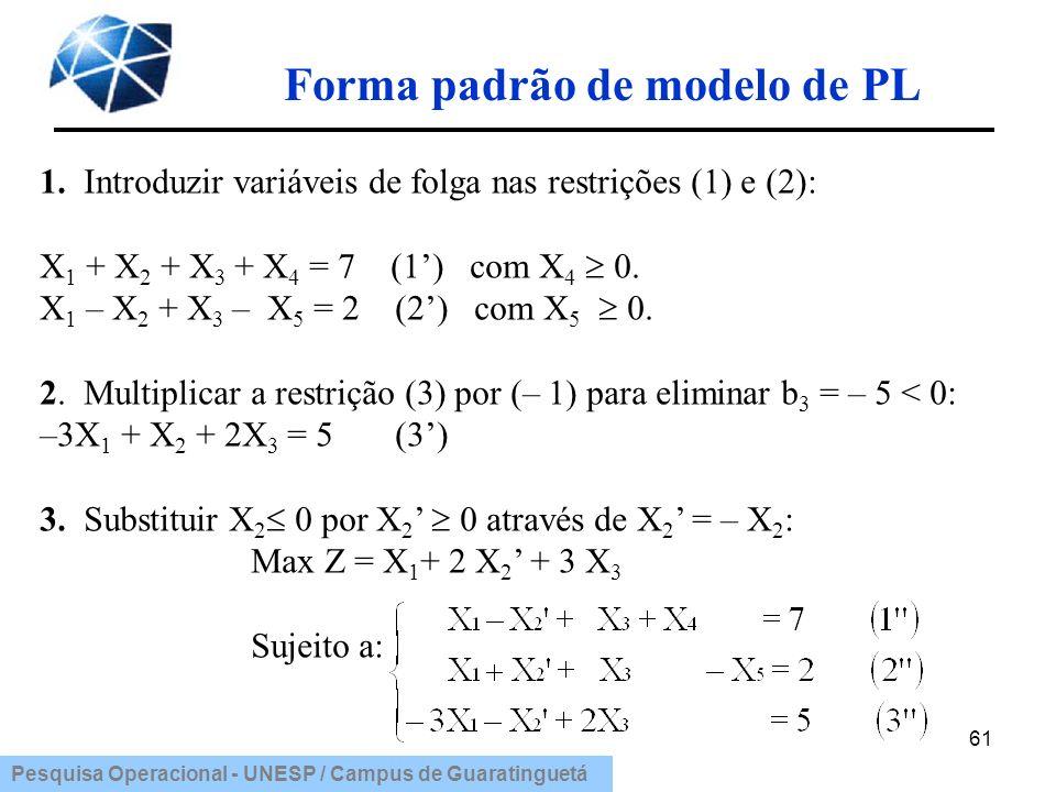 Pesquisa Operacional - UNESP / Campus de Guaratinguetá Forma padrão de modelo de PL 61 1. Introduzir variáveis de folga nas restrições (1) e (2): X 1