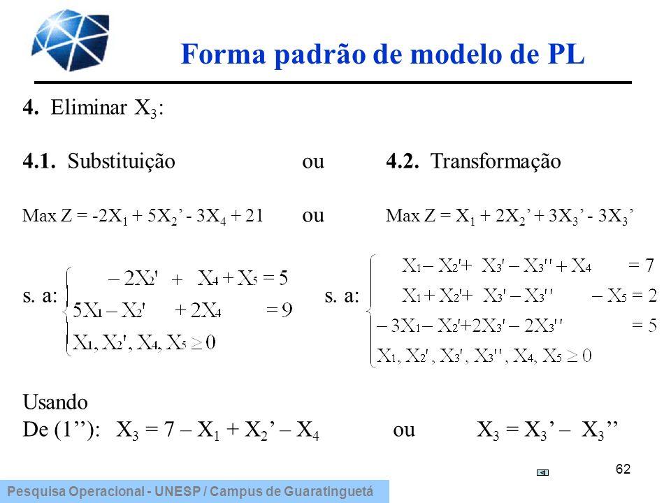 Pesquisa Operacional - UNESP / Campus de Guaratinguetá Forma padrão de modelo de PL 62 4. Eliminar X 3 : 4.1. Substituição ou 4.2. Transformação Max Z