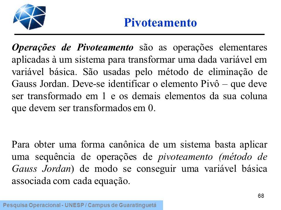 Pesquisa Operacional - UNESP / Campus de Guaratinguetá Pivoteamento 68 Operações de Pivoteamento são as operações elementares aplicadas à um sistema p