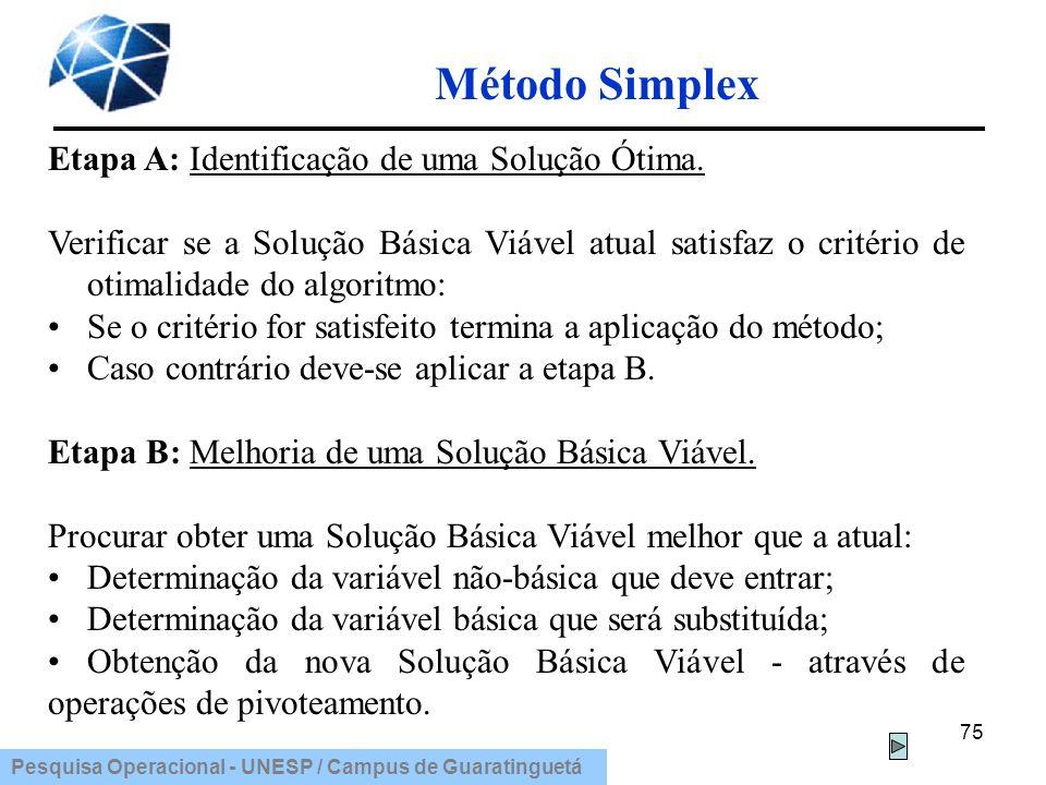Pesquisa Operacional - UNESP / Campus de Guaratinguetá Método Simplex 75 Etapa A: Identificação de uma Solução Ótima. Verificar se a Solução Básica Vi