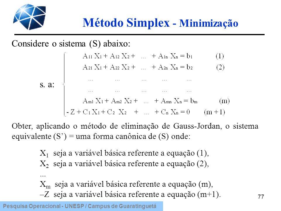 Pesquisa Operacional - UNESP / Campus de Guaratinguetá 77 Considere o sistema (S) abaixo: s. a: Obter, aplicando o método de eliminação de Gauss-Jorda