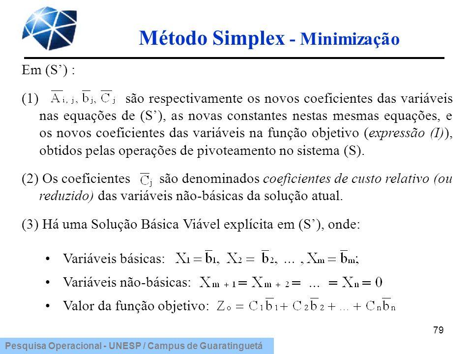 Pesquisa Operacional - UNESP / Campus de Guaratinguetá Método Simplex - Minimização 79 Em (S) : (1) são respectivamente os novos coeficientes das vari