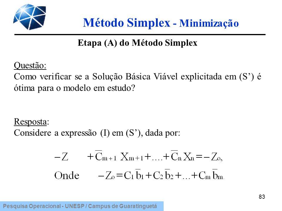 Pesquisa Operacional - UNESP / Campus de Guaratinguetá Método Simplex - Minimização 83 Etapa (A) do Método Simplex Questão: Como verificar se a Soluçã