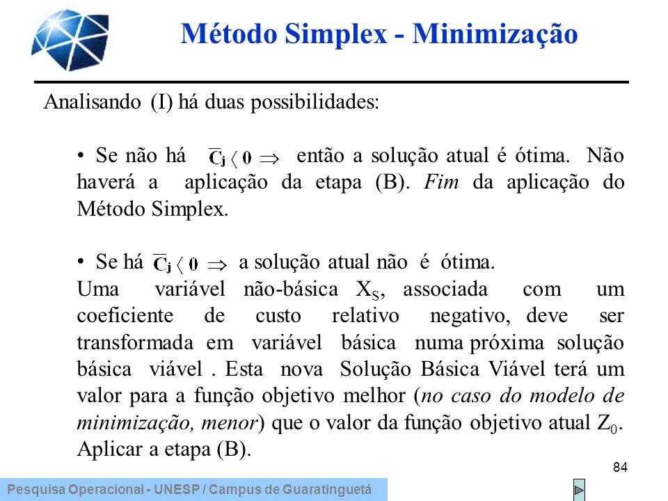 Pesquisa Operacional - UNESP / Campus de Guaratinguetá Método Simplex - Minimização 84 Analisando (I) há duas possibilidades: Se não há então a soluçã