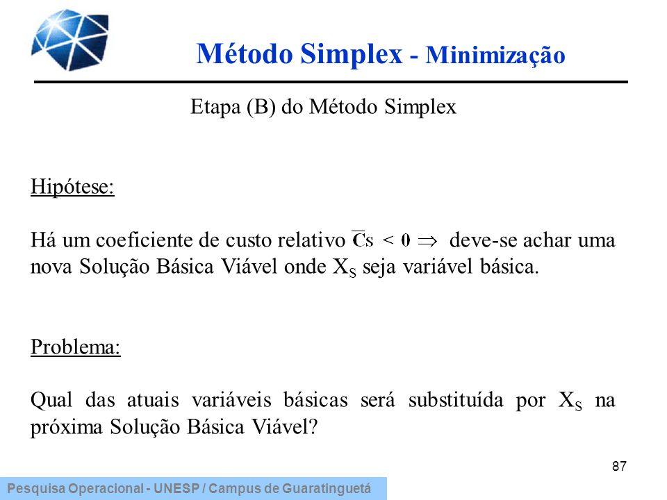 Pesquisa Operacional - UNESP / Campus de Guaratinguetá Método Simplex - Minimização 87 Etapa (B) do Método Simplex Hipótese: Há um coeficiente de cust