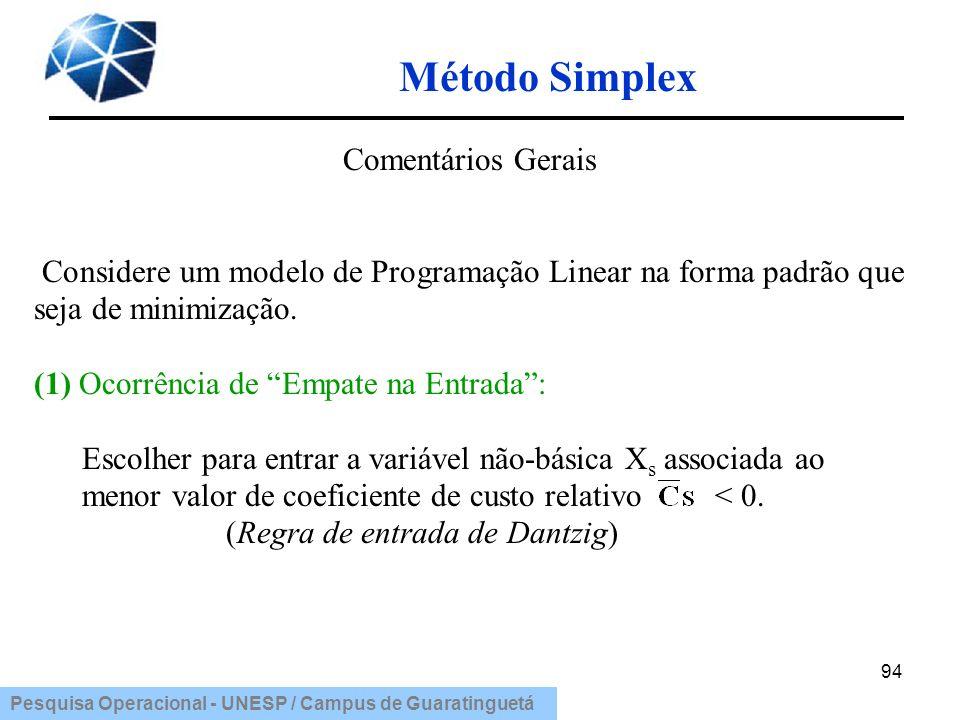 Pesquisa Operacional - UNESP / Campus de Guaratinguetá Método Simplex 94 Comentários Gerais Considere um modelo de Programação Linear na forma padrão