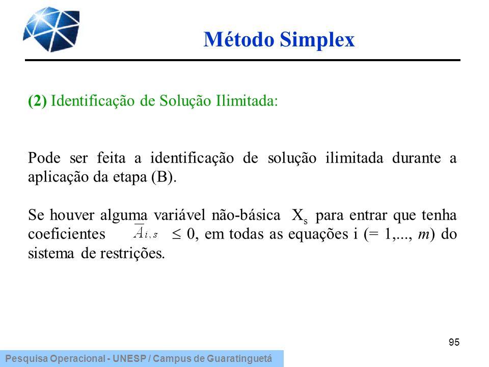 Pesquisa Operacional - UNESP / Campus de Guaratinguetá Método Simplex 95 (2) Identificação de Solução Ilimitada: Pode ser feita a identificação de sol