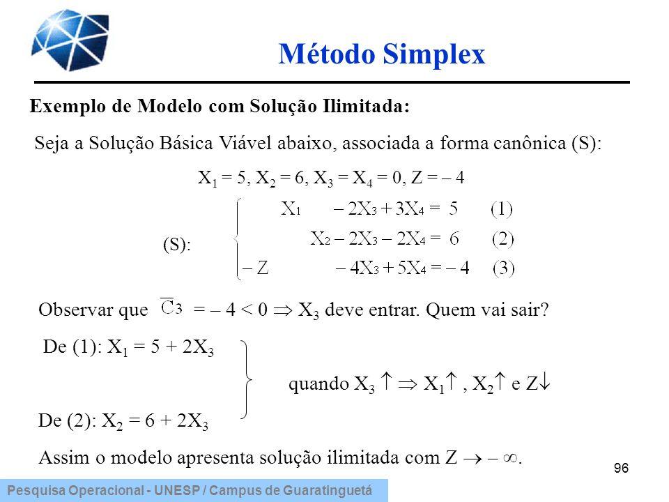 Pesquisa Operacional - UNESP / Campus de Guaratinguetá Método Simplex 96 Exemplo de Modelo com Solução Ilimitada: Seja a Solução Básica Viável abaixo,