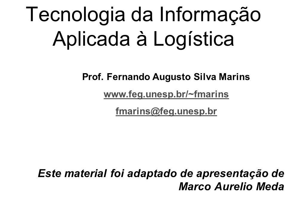 Tecnologia da Informação Aplicada à Logística Este material foi adaptado de apresentação de Marco Aurelio Meda Prof. Fernando Augusto Silva Marins www