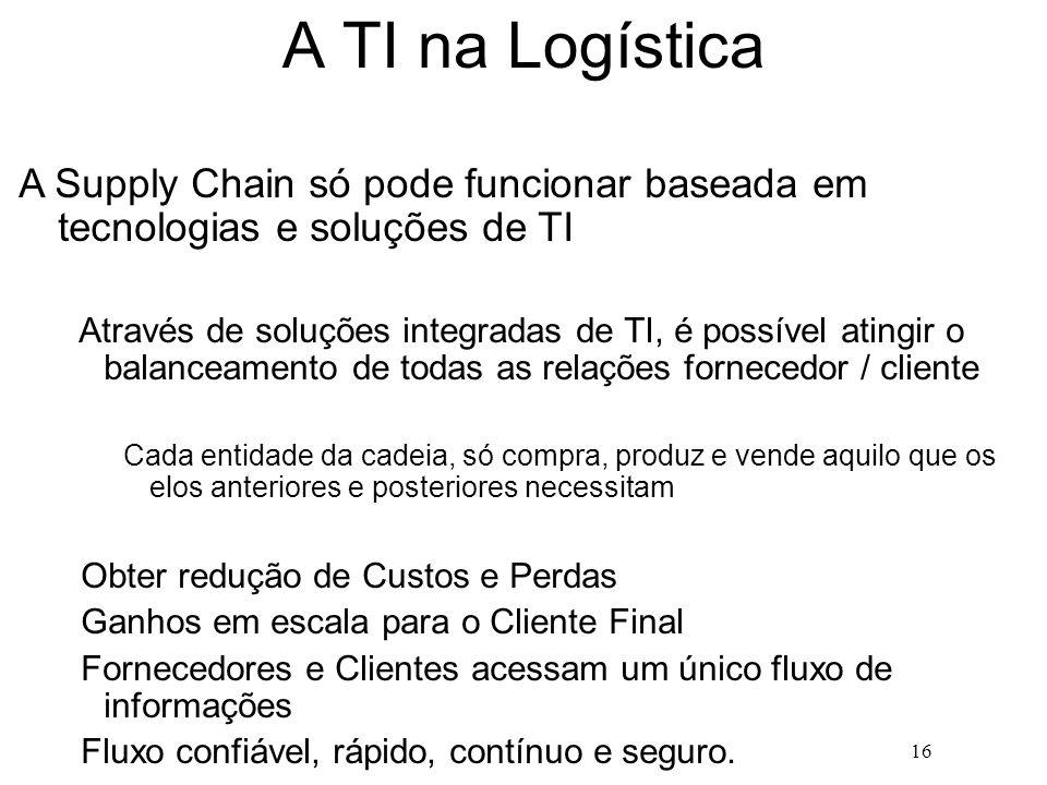 16 A TI na Logística A Supply Chain só pode funcionar baseada em tecnologias e soluções de TI Através de soluções integradas de TI, é possível atingir