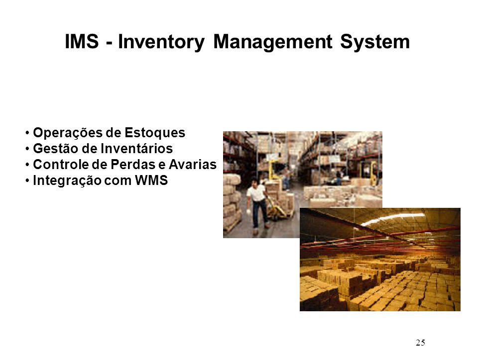 25 IMS - Inventory Management System Operações de Estoques Gestão de Inventários Controle de Perdas e Avarias Integração com WMS