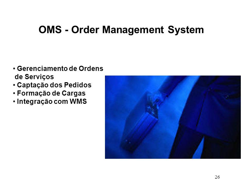 26 OMS - Order Management System Gerenciamento de Ordens de Serviços Captação dos Pedidos Formação de Cargas Integração com WMS