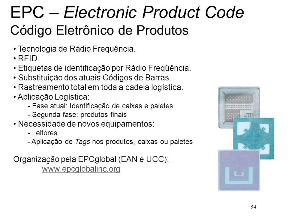 34 EPC – Electronic Product Code Código Eletrônico de Produtos Tecnologia de Rádio Frequência. RFID. Etiquetas de identificação por Rádio Freqüência.
